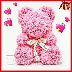 Мишка из исскуственных цветов 25 см с бантиком Светло-розовый Ручная работа оригинальный подарок на 8 Марта