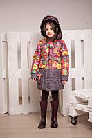 Зимнее пальто для девочки от 6 до 10 лет на утеплители холлофайбер