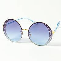 Женские солнцезащитные круглые очки  (арт. 80-664/4) голубые, фото 1