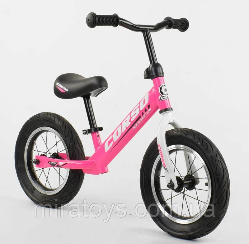 ✅Детский велобег (беговел) CORSO 63908, стальная рама, надувные колёса