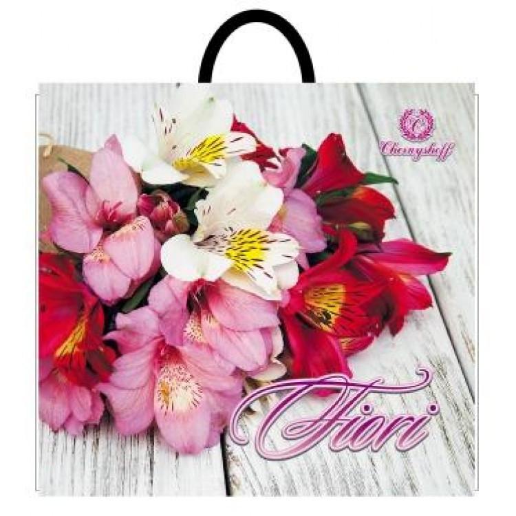 Полиэтиленовый пакет с пластиковой ручкой (сумка) 380*340 Цветы 10 шт