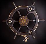Люстра штурвал деревянная с компасом на 3 лампочки, фото 3