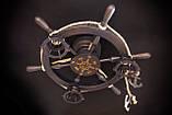 Люстра штурвал деревянная с компасом на 3 лампочки, фото 4