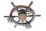Люстра штурвал деревянная с компасом на 3 лампочки, фото 8