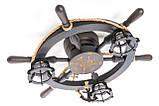 Люстра штурвал деревянная с компасом на 3 лампочки, фото 7