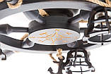 Люстра штурвал деревянная с компасом на 3 лампочки, фото 9