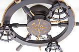 Люстра штурвал деревянная с компасом на 3 лампочки, фото 10