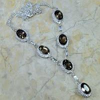 Серебряное ожерелье с раухтопазом