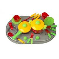 Кухня плита с мойкой и посудой, в коробке 04-409 Киндервей