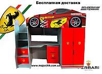 Кровать машина чердак машинка Феррари Ferrari со столом и шкафом, фото 1