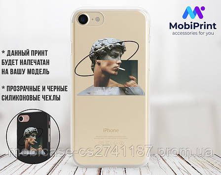 Силиконовый чехол для Apple Iphone XS Давид Микеланджело - Ренессанс (Renaissance David Michelangelo) (4026-3399), фото 2