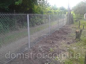 Забор для дачного участка из сетки рабица, фото 2