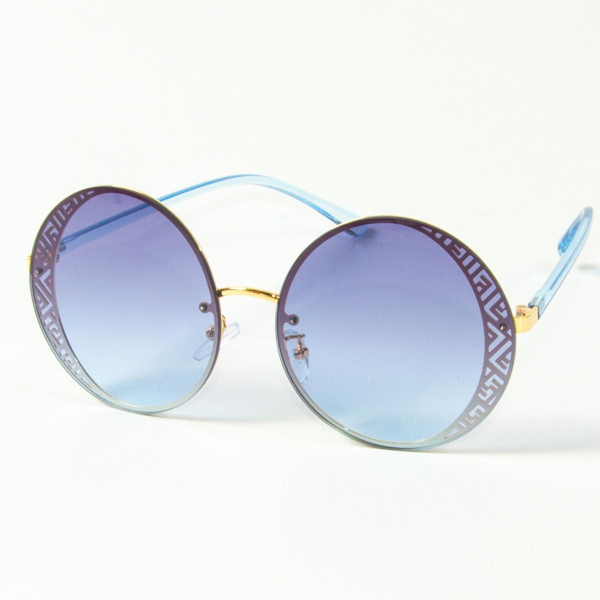 Оптом женские солнцезащитные круглые очки  (арт. 80-664/4) голубые