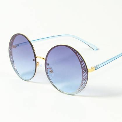 Оптом женские солнцезащитные круглые очки  (арт. 80-664/4) голубые, фото 3