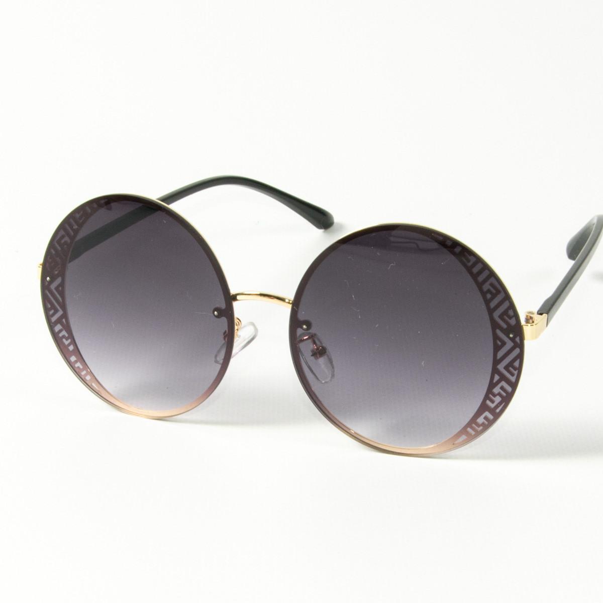 Оптом женские солнцезащитные круглые очки  (арт. 80-664/5) черные