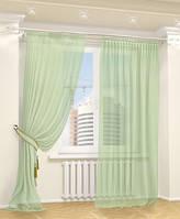 Готовая Тюль комплект для спальни из легкой ткани вуаль бледно зеленого цвета 6м.