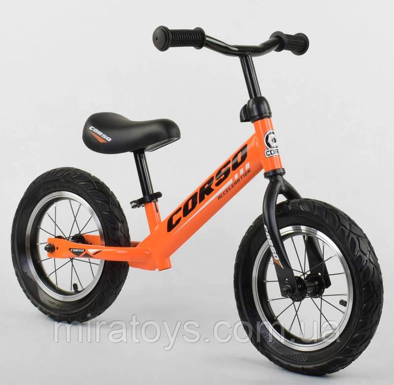 ✅Детский велобег (беговел) CORSO 68170, стальная рама, надувные колёса