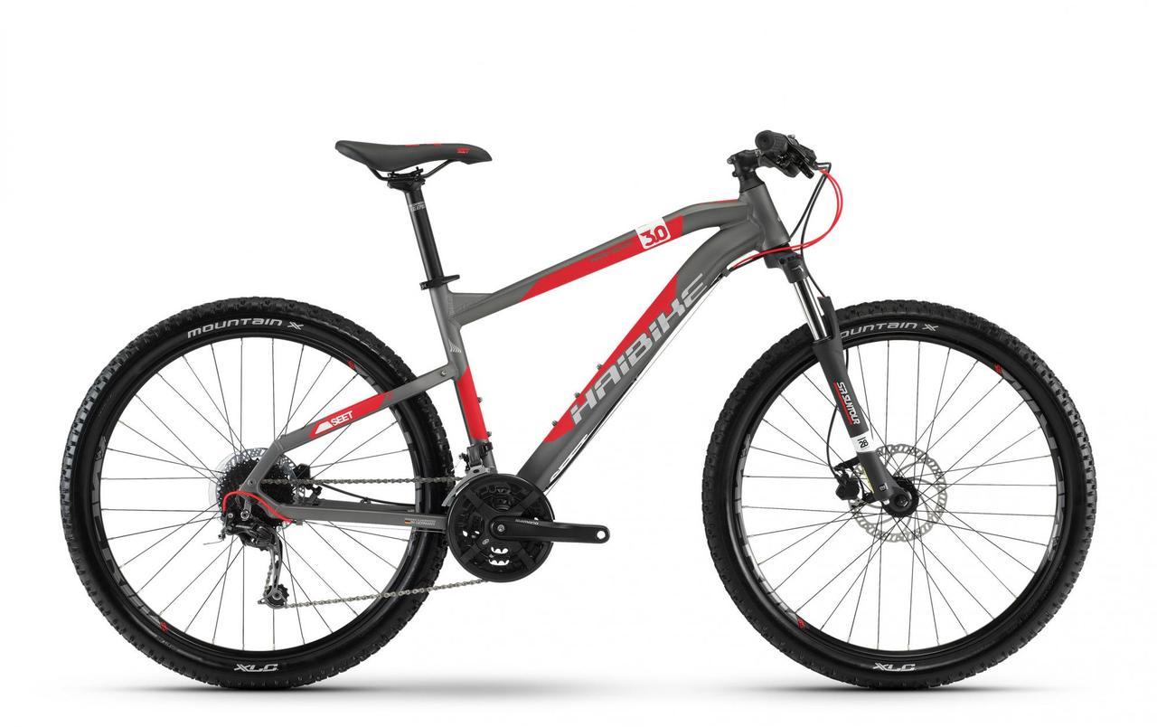 "Велосипед горный MTB Haibike SEET HardSeven 3.0, рама 45см, титаново-красно-белый, 27,5"" (ST)"