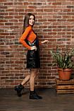 Черный женский сарафан из экокожи 44-50рр., фото 2