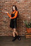Черный женский сарафан из экокожи 44-50рр., фото 3