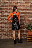 Черный женский сарафан из экокожи 44-50рр., фото 4