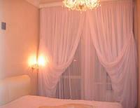 Готовые Шторы комплект для спальни из легкой ткани вуаль розовая 5 м.