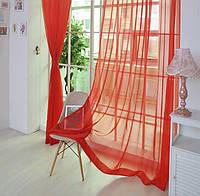 Готовая Тюль комплект для спальни из легкой ткани вуаль красного  цвета 6м.