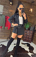 Женский костюм юбка-шорты и кофта на молнии, черный