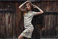 Сукня з льону з вишивкою Братчики - короткий рукав, фото 1