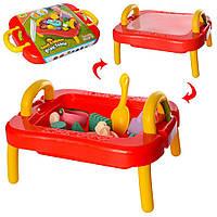 Детский столик-песочница  лейка, водопад,лопатка,грабли,формочки