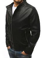 Куртка Бомбер мужской кожаный (из искусственной кожи) на молнии демисезонный без капюшона Черный LS1073