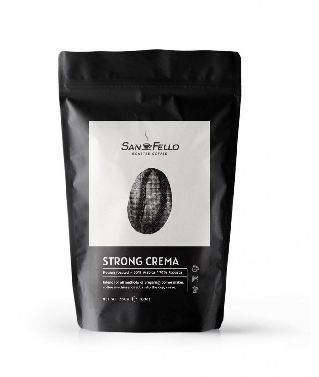 Кофе в зернах свежая обжарка Strong Crema 250 грамм