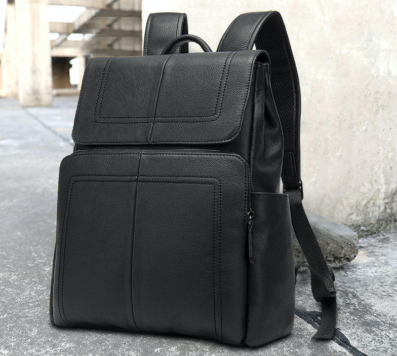 Мужской городской рюкзак из натуральной кожи Marrant - черный