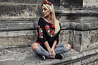 Блуза лляна з вишивкою Класика Маки , фото 1