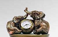 Статуэтка Слоники с часами с медным покрытием 0042