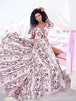 Легкое нарядное платье со змеиным принтом на запах (универсальный (S/L))