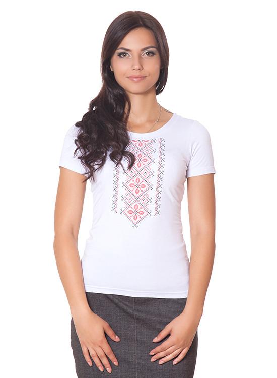 Красивая женская футболка с вышивкой (размер S)