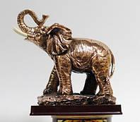 Статуэтка Слона c медным покрытием на деревянной подставке 0040