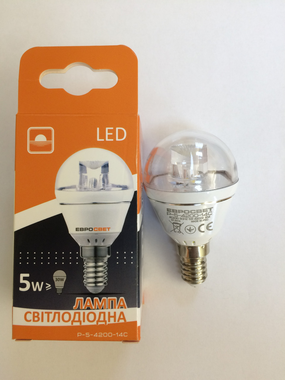 Лампа світлодіодна куля 5вт Е14 4200К