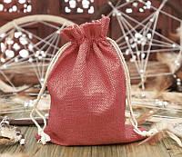 Подарочный мешочек из джута 14,5х19,5см. Красный
