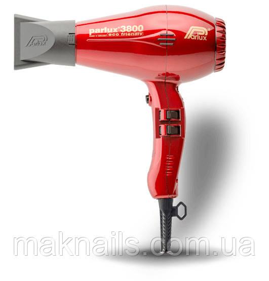 Фен для волос Parlux/Парлюкс Ceramic ionic 3800. Красный. Италия.Оригинал.