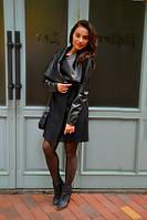 Женское длинное пальто с кожаными рукавами