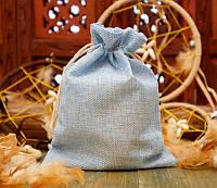 Подарочный мешочек для оформления из джута 14,5х19,5 см. Голубой