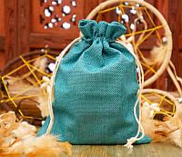 Подарочный мешочек для оформления к празднику 14,5х19,5 см. Изумрудный