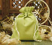 Подарочный мешочек для оформления к празднику 14,5х19,5 см. Салатовый