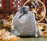 Подарочный мешочек для оформления к празднику 14,5х19,5 см. Тёмно серый