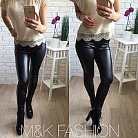 Женские кожаные лосины с высокой талиейи карманами VS 1047, фото 1