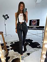 Женские кожаные брюки со съёмными подтяжками