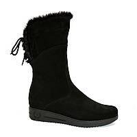 Замшевые черные женские ботинки на утолщенной подошве, фото 1