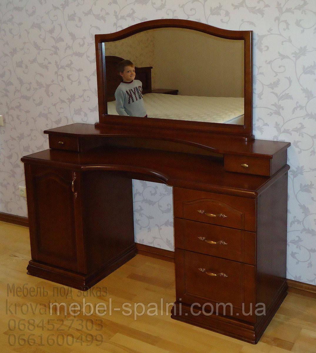 Трюмо деревянное 2-х тумбовое с зеркалом и консолью tr2.4